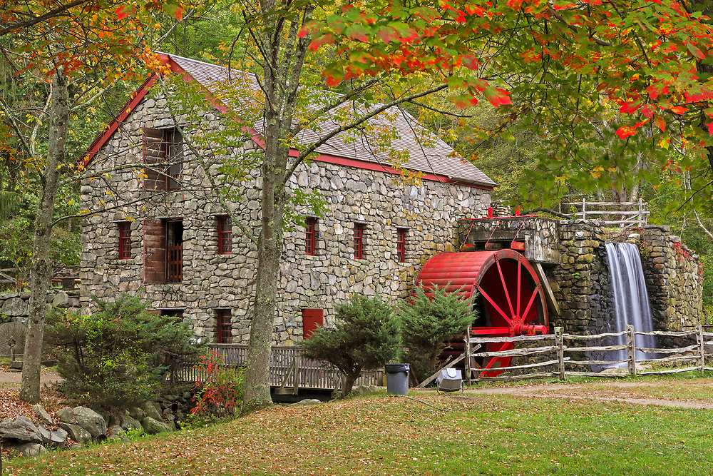 Returned to the historic Wayside Inn Grist Mill to take in the scenery during fall foliage. Autumn colors were still apparent and brilliant. This local New England landmark is in Sudbury, Massachusetts. <br /> <br /> Sudbury Grist Mill fall foliage photography images are available as museum quality photo, canvas, acrylic, wood or metal prints. Wall art prints may be framed and matted to the individual liking and interior design decoration needs:<br /> <br /> https://juergen-roth.pixels.com/featured/fall-foliage-at-the-sudbury-grist-mill-juergen-roth.html<br /> <br /> Good light and happy photo making!<br /> <br /> My best,<br /> <br /> Juergen<br /> Licensing: http://www.rothgalleries.com<br /> Photo Prints: http://fineartamerica.com/profiles/juergen-roth.html<br /> Photo Blog: http://whereintheworldisjuergen.blogspot.com<br /> Instagram: https://www.instagram.com/rothgalleries<br /> Twitter: https://twitter.com/naturefineart<br /> Facebook: https://www.facebook.com/naturefineart
