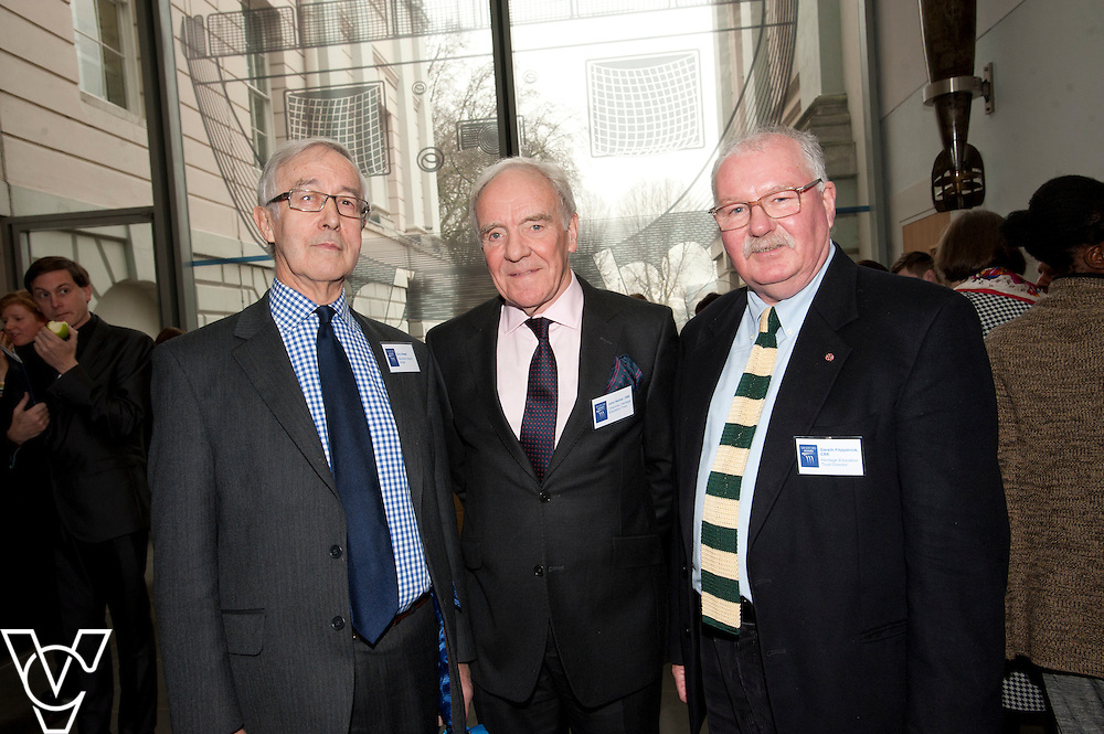 Eric Steed, left, Chairman of the Heritage Education Trust, John Hamer OBE, centre, and Gareth Fitzpatrick CBE<br /> <br /> Sandford Awards 2014 ceremony held at the National Maritime Museum, Greenwich.<br /> Date: December 5, 2014<br /> <br /> Picture: Chris Vaughan/Chris Vaughan Photography