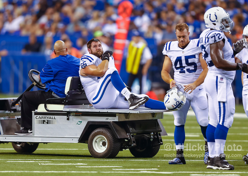 INDIANAPOLIS, IN - AUGUST 20: Kevin Graf #66 of the Indianapolis Colts leaves the field after an injury during the game against the Baltimore Ravens at Lucas Oil Stadium on August 20, 2016 in Indianapolis, Indiana.  (Photo by Michael Hickey/Getty Images) *** Local Caption *** Kevin Graf