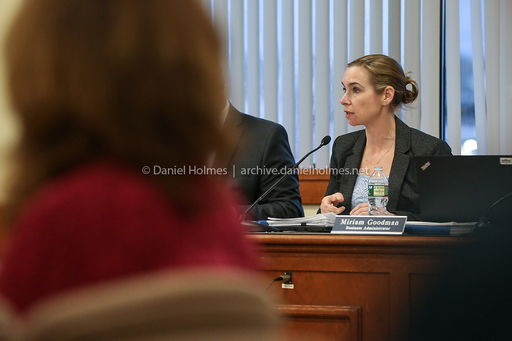 (4/23/19, FRANKLIN, MA) Superintendent of Schools, Sara Ahern, discusses budget cuts during the school committee meeting at the Franklin Municipal Building on Tuesday. Superintendent Sara Ahern recently announced that the district has to trim $2.3 million of its proposed fiscal 2020 budget, which may include job losses and parking fees, among other things.[Daily News and Wicked Local Photo/Dan Holmes]