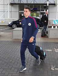 as the Manchester City team arrive at Manchester Airport as they jet for Iceland