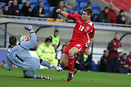 Sam Vokes of Wales has a shot blocked by Scotland keeper David Marshall. Wales v Scotland, friendly international football match at the Cardiff City stadium, Cardiff, Wales, UK on Sat 14th Nov 2009.  pic by Andrew Orchard, Andrew Orchard sports photography