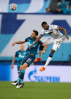 SAINT-PETERSBURG, RUSSIA - OCTOBER 20: Clinton Mata of Club Brugge KV and Magomed Ozdoyev of Zenit St Petersburg in action during the UEFA Champions League Group F match between Zenit St Petersburg and Club Brugge KV at Gazprom Arena on October 20, 2020 in Saint-Petersburg, Russia [Photo by MB Media]