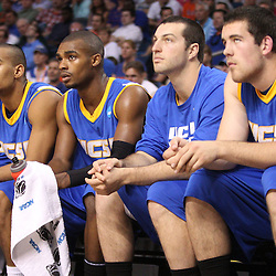 Mar 17, 2011; Tampa, FL, USA; UC Santa Barbara Gauchos players watch from the bench during second half of the second round of the 2011 NCAA men's basketball tournament against the Florida Gators at the St. Pete Times Forum. Florida defeated UCSB 79-51.  Mandatory Credit: Derick E. Hingle