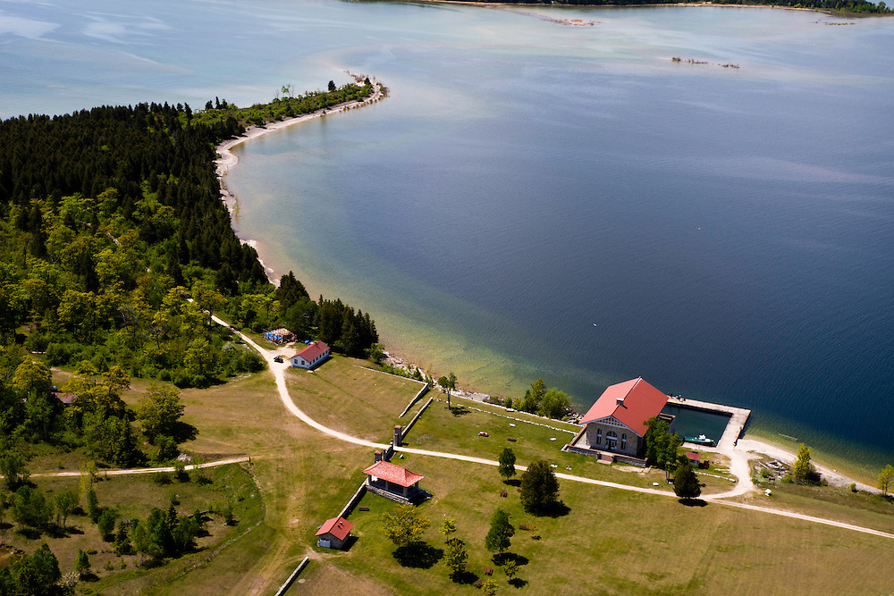 Aerial view of Rock Island State Park and its majestic boathouse, off of the tip of Door County, Wisconsin.