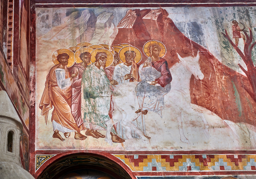 Pictures & images of the Byzantine fresco panels on the north wall of the Gelati Georgian Orthodox Church of the Virgin, 1106, depicting Christ riding on a Donkey.  The medieval Gelati monastic complex near Kutaisi in the Imereti region of western Georgia (country). A UNESCO World Heritage Site. .<br /> <br /> Visit our MEDIEVAL PHOTO COLLECTIONS for more   photos  to download or buy as prints https://funkystock.photoshelter.com/gallery-collection/Medieval-Middle-Ages-Historic-Places-Arcaeological-Sites-Pictures-Images-of/C0000B5ZA54_WD0s<br /> <br /> Visit our REPUBLIC of GEORGIA HISTORIC PLACES PHOTO COLLECTIONS for more photos to browse, download or buy as wall art prints https://funkystock.photoshelter.com/gallery-collection/Pictures-Images-of-Georgia-Country-Historic-Landmark-Places-Museum-Antiquities/C0000c1oD9eVkh9c