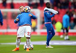 Stoke City's Xherdan Shaqiri warms up before the Premier League match at the bet365 Stadium, Stoke