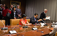 Nicolas Maduro Moros,the President of  Venezuela. meets with United Nations Secretary General Ban Ki moon, after signing the guest book.