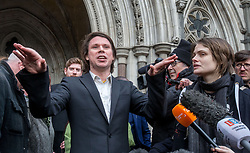 February 5, 2018 - London, London, United Kingdom - Lauri Love, convicted of computer hacking wins his appeal against his extradition to the USA. He was arrested for allegedly hacking into the US Central bank, NASA and the FBI..He is supported by his girlfriend, Sylvia Mann and his parents Father Alexander Love and his mother Sirkka-Lisa Love.Lauri Love wins extradition hearing. High Court, London. High Court. (Credit Image: © Mark Thomas/i-Images via ZUMA Press)