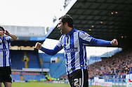 Sheffield Wednesday midfielder Alex Lopez (21) celebrates Sheffield Wednesday striker Gary Hooper (14) goal during the Sky Bet Championship match between Sheffield Wednesday and Cardiff City at Hillsborough, Sheffield, England on 30 April 2016. Photo by Phil Duncan.