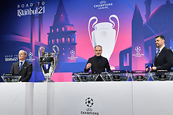 NYON, SWITZERLAND - Monday, December 14, 2020: Special guest Stéphane Chapuisat (C) during the UEFA Champions League 2020/21 Round of 16 draw at the UEFA Headquarters, the House of European Football. (Photo Handout/UEFA)