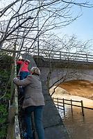 The river Avon floods at Lucys Mill in Stratford upon Avon Warwickshire.