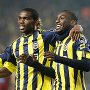 Fenerbahce's Mamadou NIANG (R) celebrate his goal during their Turkish superleague soccer derby match Fenerbahce between Trabzonspor at the Sukru Saracaoglu stadium in Istanbul Turkey on Sunday 30 January 2011. Photo by TURKPIX