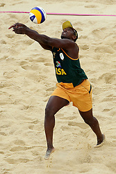 Freedom Chiya of South Africa during the preliminary phase - Pool D Beach Volleyball match between Poland and South Africa held at the Horse Guards Parade Stadium in London as part of the London 2012 Olympics on the 1st August 2012..Photo by Ron Gaunt/SPORTZPICS