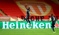 Club Brugge's Moraes Wesley (centre) celebrates scoring his side's third goal of the game