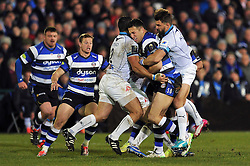Sam Burgess of Bath Rugby is double-tackled - Photo mandatory by-line: Patrick Khachfe/JMP - Mobile: 07966 386802 12/12/2014 - SPORT - RUGBY UNION - Bath - The Recreation Ground - Bath Rugby v Montpellier - European Rugby Champions Cup