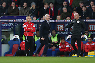 Alan Pardew, the Crystal Palace manager shouting from the touchline. Barclays Premier League match, Crystal Palace v Swansea city at Selhurst Park in London on Monday 28th December 2015.<br /> pic by John Patrick Fletcher, Andrew Orchard sports photography.