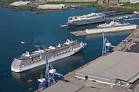 Aerial image of Carnival Cruise Line Pride arriving at Baltimore on inaugural voyage