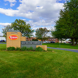 New Holland, PA / USA - May 12, 2020: An entrance to the Tyson Foods Complex, a processor and production facility of chicken products in Lancaster County,  Pennsylvania.