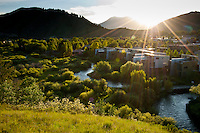 The sun sets over the city of Jackson, Wyoming.