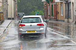 © Licensed to London News Pictures. 20/09/2018. Builth Wells, Powys, Wales, UK. Torrential rain hits the small market town of Builth Wells in Powys, Wales, UK. Photo credit: Graham M. Lawrence/LNP