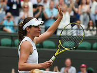 Tennis - 2019 Wimbledon Championships - Week One, Saturday (Day Six)<br /> <br /> Womens singles, 4th Round <br /> Sloane Stephens (USA) v Johanna Konta (GBR)<br /> <br /> Johanna Konta after her win on Court 1<br /> <br /> COLORSPORT/ANDREW COWIE