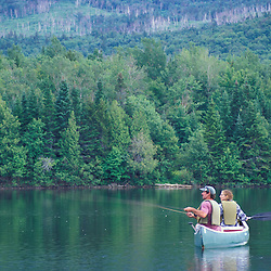 Greenville, Maine. Northern Forest. Tourism. A registered Maine Guide and client fly fishing on 2nd West Branch Pond.