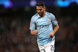 Manchester City's Riyad Mahrez celebrates scoring his side's fifth goal of the game