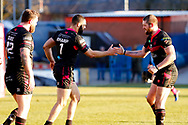 Halifax RLFC full back William Sharp (1) scores a ry and celebrates during the Betfred Championship match between Rochdale Hornets and Halifax RLFC at Spotland, Rochdale, England on 25 February 2018. Picture by Simon Davies.