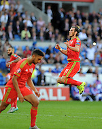 Gareth Bale of Wales reacts after missing a goal chance. Euro 2016 qualifying match, Wales v Israel at the Cardiff city stadium in Cardiff, South Wales on Sunday 6th Sept 2015.  pic by Andrew Orchard, Andrew Orchard sports photography.