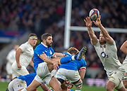 Twickenham, United Kingdom, Saturday, 9th March 2019,  England's, Brad SHIELDS, reach's to block, Italy's Tommaso ALLENS kick, during the Guinness Six Nations match, England vs Italy,  at the RFU Rugby, Stadium,© Peter Spurrier
