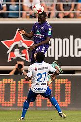 (L-R) Dennis Appiah of RSC Anderlecht, Moses Daddy Ajala Simon of KAA Gent during the Jupiler Pro League match between KAA Gent and RSC Andelecht at the Ghalemco Arena on August 27, 2017 in Gent, Belgium