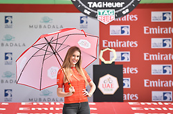 February 24, 2019 - Abu Dhabi, Emirati Arabi Uniti, Emirati Arabi Uniti - Foto LaPresse - Massimo Paolone.24 Febbraio 2019 Abu Dhabi (Emirati Arabi Uniti).Sport Ciclismo.UAE Tour 2019 - Tappa 1 - Da Al Hudayriat Island a Al Hudayriat Island - Crono squadre 16 km.Nella foto: la miss con la maglia rossa..Photo LaPresse - Massimo Paolone.February 24, 2019 Abu Dhabi (United Arab Emirates) .Sport Cycling.UAE Tour 2019 - Stage 1 - From Al Hudayriat Island to Al Hudayriat Island - TTT 9,9 miles.In the pic: the miss with the red jersey (Credit Image: © Massimo Paolone/Lapresse via ZUMA Press)