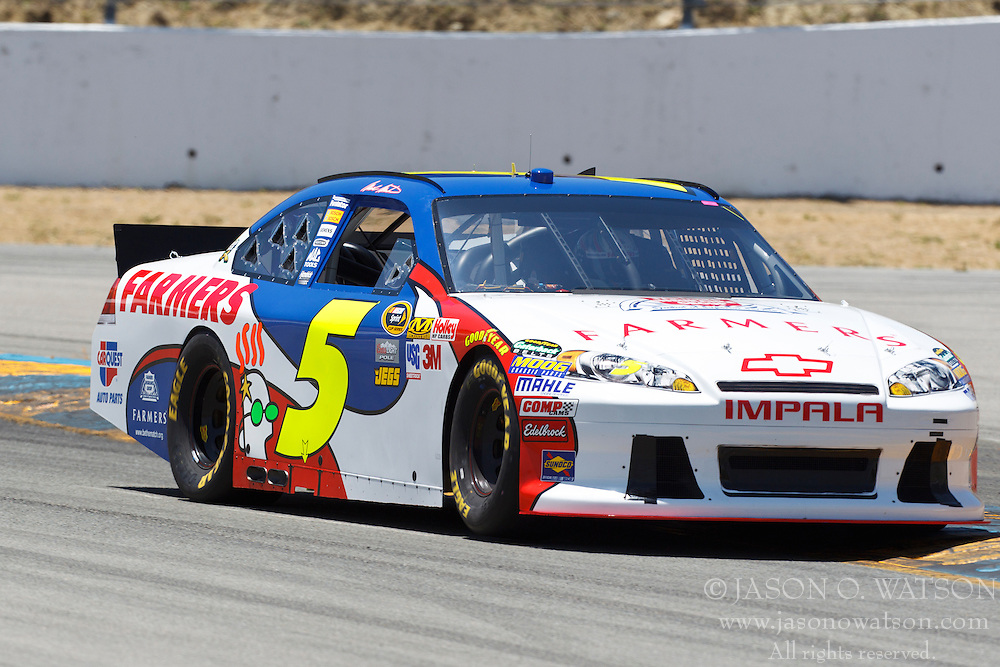 June 24, 2011; Sonoma, CA, USA;  NASCAR Sprint Cup Series driver Mark Martin (5) drives through turn 4 during practice for the Toyota/Save Mart 350 at Infineon Raceway.