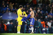 Goalkeeper Iker Casillas of FC Porto and Pedro of Chelsea swap shirts after full time. UEFA Champions league group G match, Chelsea v Porto at Stamford Bridge in London on Wednesday 9th December 2015.<br /> pic by John Patrick Fletcher, Andrew Orchard sports photography.