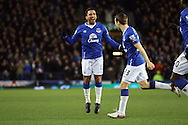 Aaron Lennon of Everton (l) celebrates with his teammates after scoring his teams 1st goal. Barclays Premier League match, Everton v Newcastle United at Goodison Park in Liverpool on Wednesday 3rd February 2016.<br /> pic by Chris Stading, Andrew Orchard sports photography.