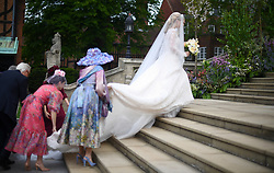 Lady Gabriella Windsor and her father Prince Michael of Kent arrive at St George's Chapel in Windsor Castle, for her wedding to Thomas Kingston.