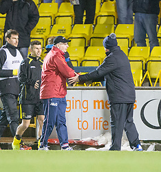 Livingston manager John McGlynn and Falkirk's manager Peter Houston at the end.<br /> Livingston 0 v 1 Falkirk, Scottish Championship played13/12/2014 at The Energy Assets Arena.