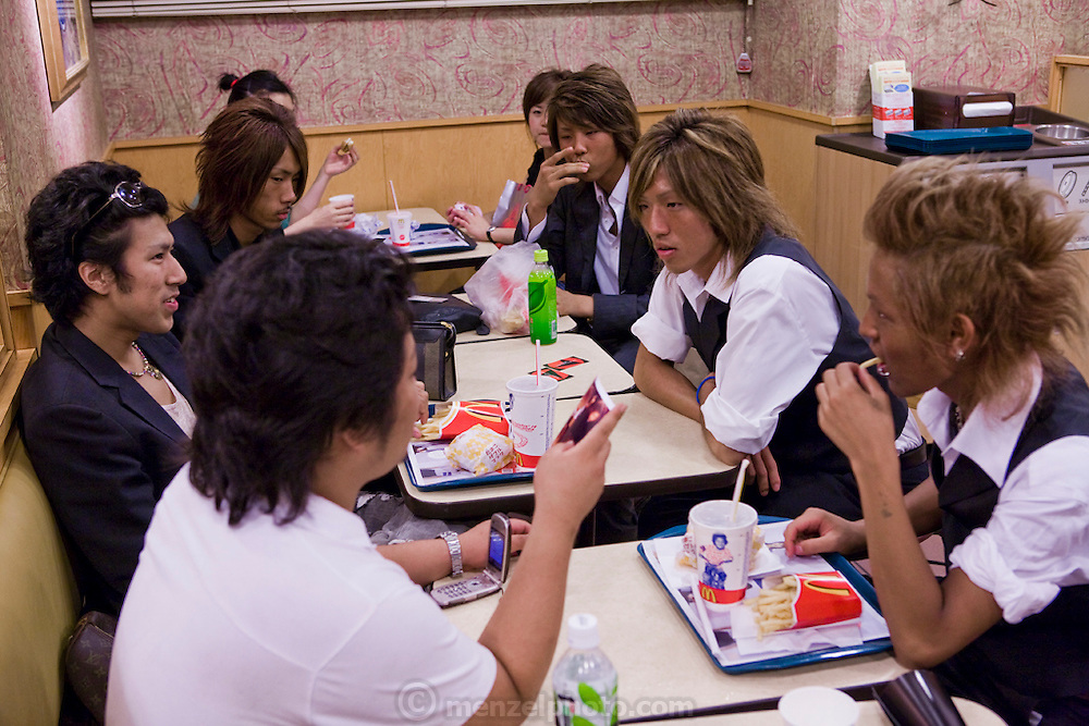 Takuya Mizuhara, an 18 year old university student (third from the right) with his friends at his favorite meeting place, McDonalds in Shibuya District of Tokyo, Japan. (Takuya Mizuhara is one of the people interviewed for the book What I Eat: Around the World in 80 Diets.)