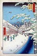 Atagoshita and Yabu Lane: 1857. Utagawa Hiroshige (1797-1858) Japanese Ukiyo-e artist 'One Hundred Famous View s of Edo' (Tokyo).  Pedestrians in falling snow, Mount Atago right background, Bamboo right foreground. Winter Sparrow