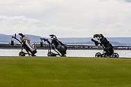 The final group's bags on the 17th during the Connacht U16 Boys Amateur Open Championship at Galway Bay Golf Club, Oranmore, Galway on Wednesday 17th April 2019.<br /> Picture:  Thos Caffrey / www.golffile.ie