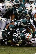 PHILADELPHIA - NOVEMBER 18: The Philadelphia Eagles crush Running Back Jesse Chatham of the Miami Dolphins on November 18, 2007 at Lincoln Financial Field in Philadelphia, Pennsylvania.