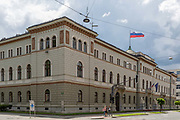 The Presidential Palace in the Slovenian capital, Ljubljana, on 27th June 2018, in Ljubljana, Slovenia. 2013 marked the 115th anniversary of the palace on Presernova street in Ljubljana. Architecturally, it is one of Ljubljanas landmark buildings, designed by engineer Rudolf Bauer and constructed by the Carniolan Building Society, which began works in 1886.