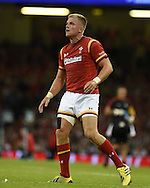 Gareth Anscombe of Wales looks on. Wales v Ireland rugby union international, RWC warm up friendly match at the Millennium Stadium in Cardiff, South Wales on Saturday 8th August  2015.<br /> pic by Andrew Orchard, Andrew Orchard sports photography.