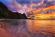Golden Sunset on Ha'ena Beach of Kauai Hawaii