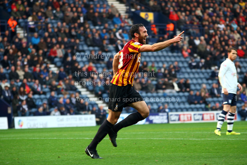 Bradford City's Rory McArdle celebrates after scoring his teams 1st goal. Skybet football league one match, Preston North End v Bradford city at Deepdale in Preston, Lancs on Saturday 15th November 2014.<br /> pic by Chris Stading, Andrew Orchard sports photography.
