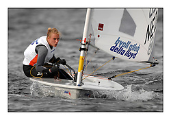 Marit Bouwmeester, NED 192285.Day 3 started late after strong winds postponed racing till 5pm for the Laser Radial World Championships, taking place at Largs, Scotland GBR. ..118 Women from 35 different nations compete in the Olympic Women's Laser Radial fleet and 104 Men from 30 different nations. .All three 2008 Women's Laser Radial Olympic Medallists are competing. .The Laser Radial World Championships take place every year. This is the first time they have been held in Scotland and are part of the initiaitve to bring key world class events to Britain in the lead up to the 2012 Olympic Games. .The Laser is the world's most popular singlehanded sailing dinghy and is sailed and raced worldwide. ..Further media information from .laserworlds@gmail.com.event press officer mobile +44 7775 671973  and +44 1475 675129 .
