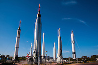 US, Florida. John F. Kennedy Space Center. Rocket Garden at the Visitor Complex. From left: Mercury-Redstone, Saturn IB (in background), Juno I, Mercury-Atlas, Thor-Delta,Juno II, Atlas-Agena and Titan II GLV.