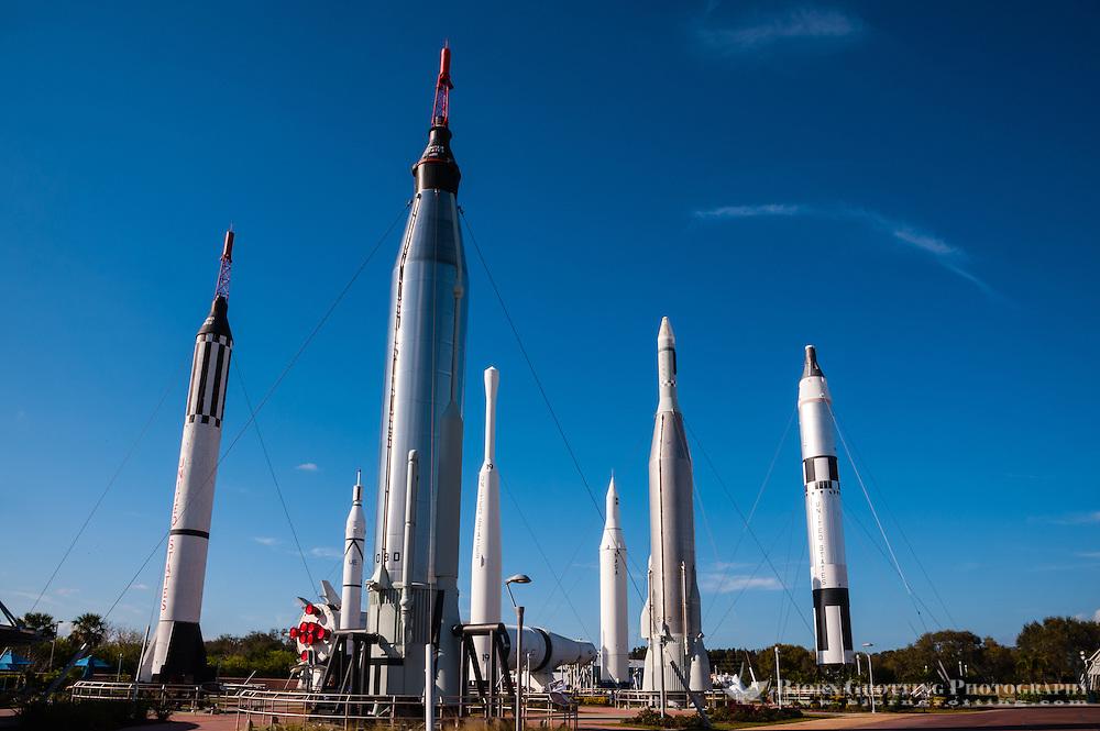 US, Florida. John F. Kennedy Space Center. Rocket Garden at the Visitor Complex. From left: Mercury-Redstone, Saturn IB (in background), Juno I, Mercury-Atlas, Thor-Delta,Juno II, Atlas-Agena and Titan II GLV.