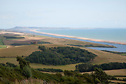 View west along Chesil beach tombolo from Abbotsbury to the Isle Portland, Dorset, England, UK
